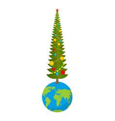 christmas on earth new year on planet big vector image