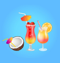 cocktail in glass and coconut with strawberry and vector image