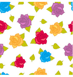 Color roses with green leaves seamless pattern vector