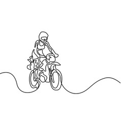 continuous line woman stund up riding on motorbike vector image