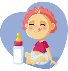 Cute baby with milk bottle cartoon vector