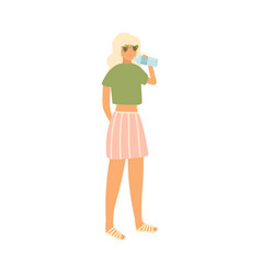 Cute blonde girl with sunglasses drink water at vector