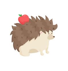 Cute hedgehog carries red apple on his back vector