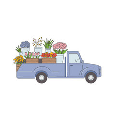 delivery pickup truck with flowers sketch cartoon vector image
