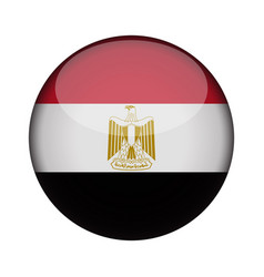 Egypt flag in glossy round button of icon egypt vector