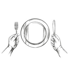 empty plate hands holding a knife and fork time vector image