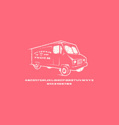 extended sans serif font and ice cream truck vector image