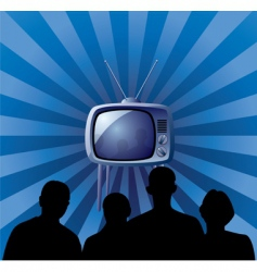 family watching retro TV set vector image