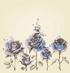Floral border made of roses hand drawn vector