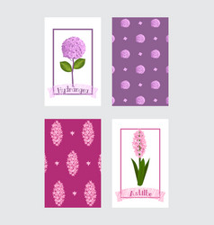 flowers and floral pattern watercolor vector image