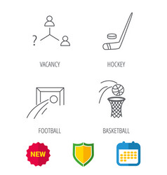 Football ice hockey and basketball icons vector