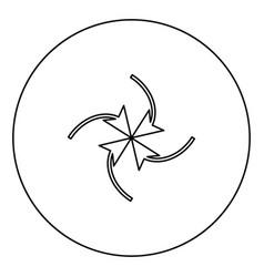 Four arrows in loop in center black icon outline vector