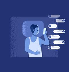 gadget addiction problem flat man in bed vector image