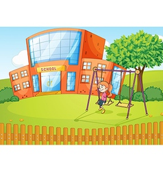 Girl and a school in beautiful nature vector image