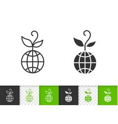 globe simple black line icon vector image