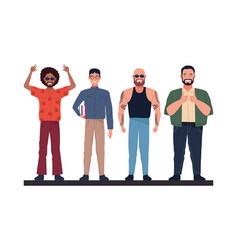 Group perfectly imperfect men characters vector