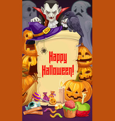 Halloween party dracula and pumpkins sweets vector