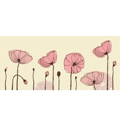 Hand-drawn poppies banner vector