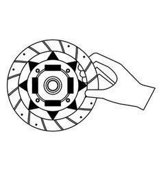 Hand with clutch plate auto spare part vector