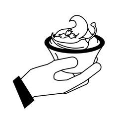 hand with sauce chili pepper vector image