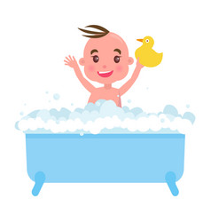 happy little boy in blue bath with foam and duck vector image