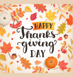 happy thanksgiving day poster banner vector image