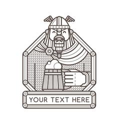 Happy viking holding a wooden mug of beer vector
