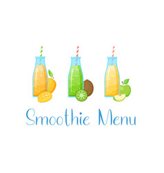 healthy diet raw fruit smoothie drink collection vector image