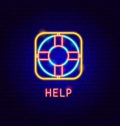 Help neon label vector