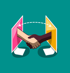 internet business comunication two shaking hands vector image