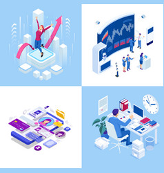 Isometric business concepts businessmen and vector