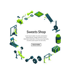 Isometric gym sport and fitness items vector