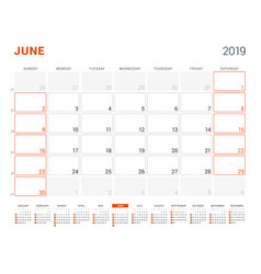 june 2019 calendar planner for 2019 year design vector image