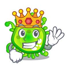 King virus cells bacteria microbe isolated mascot vector