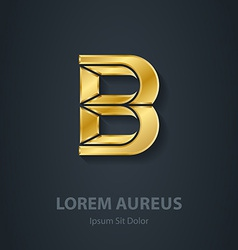 Letter B elegant gold font Template for company vector image
