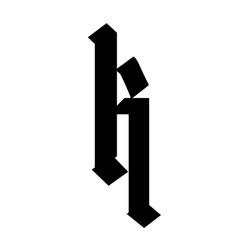 Letter k in gothic style alphabet symbol vector