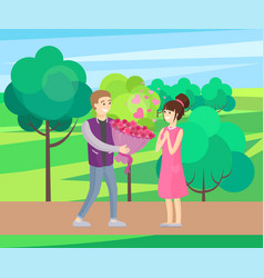 man presenting luxury bouquet of flowers to woman vector image