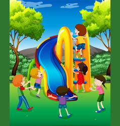 many kids playing slide in the park vector image