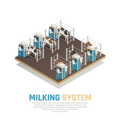 milking operation factory background vector image