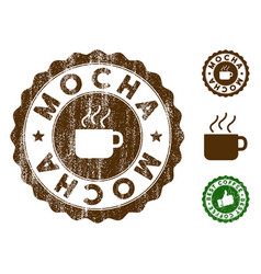 Mocha stamp seal with grunge style vector