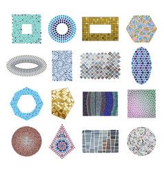 Mosaic decoration frames patchwork traditional vector