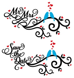 Mr and Mrs save the date wedding birds vector image