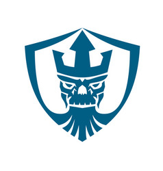 Neptune skull trident crown crest icon vector