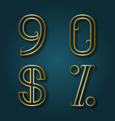 nine zero shiny golden numbers dollar and vector image