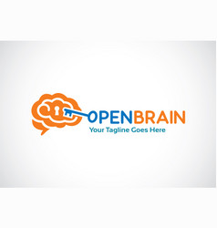 open brain logo template design vector image