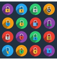 Padlock icons in flat style vector image