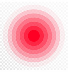 Pain concentration icon red transparent circles vector