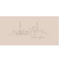 pen line silhouette shanghai beige vector image