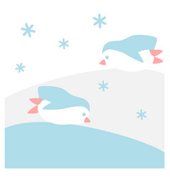 penguins are sliding in snow vector image