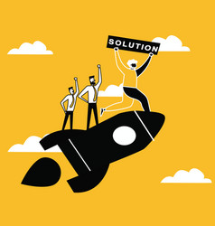 people on rocket providing solution vector image
